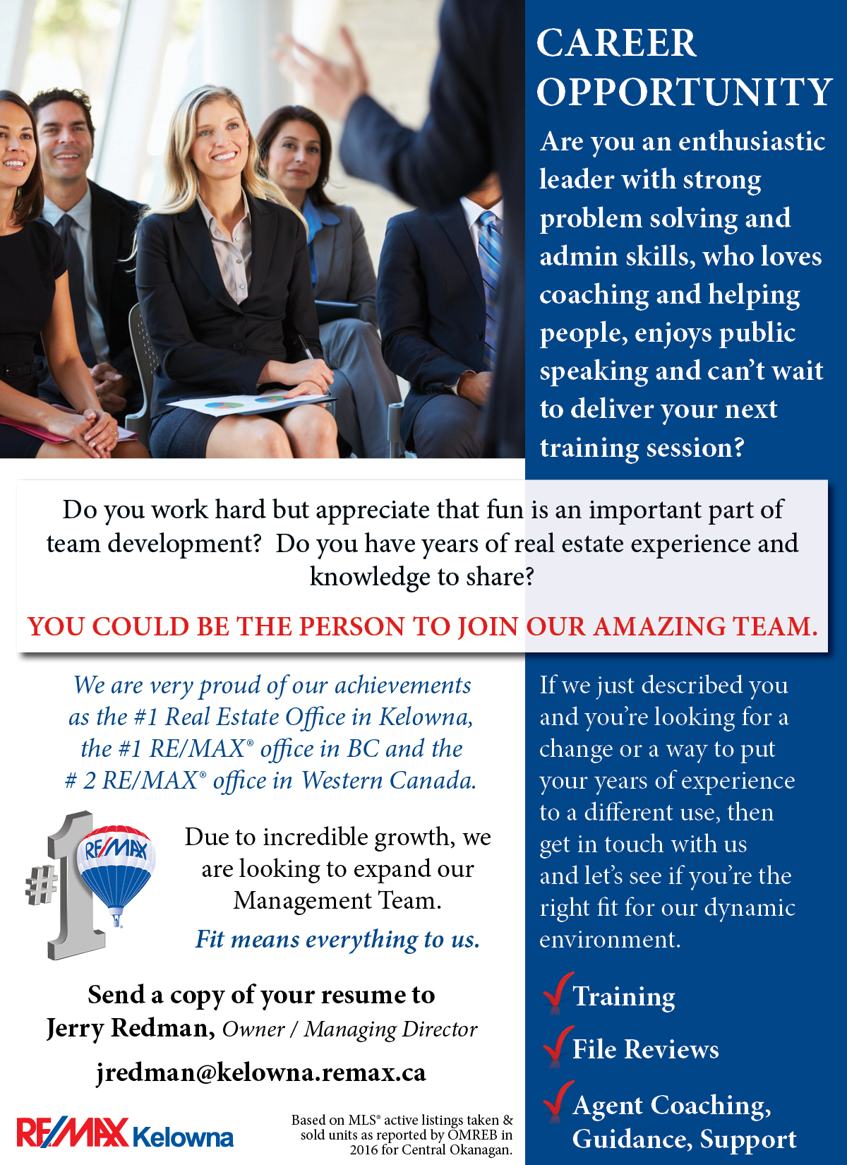 Remax Kelowna Career Opportunity